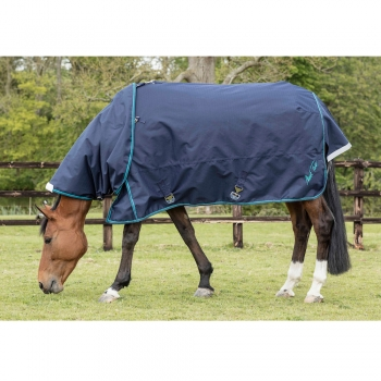 MARK TODD LIGHTWEIGHT TURNOUT RUG NAVY/BEIGE/ROYAL PLAID NECK COVER