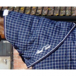 Mark Todd Check Mediumweight Stable Rug Neck Cover Navy and White